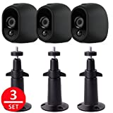 EEEKit 3 Pcs Security Mental Wall Mount+3 Pcs Silicone Skins Protective Cover Case, Adjustable Indoor/Outdoor Mount for Arlo Camera