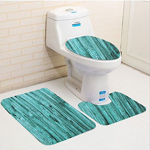 Keshia Dwete three-piece toilet seat pad customTurquoise Of Turquoise Wooden Texture Background Antique Timber Furniture Artful Print Blue (Timber Furniture Lodge)