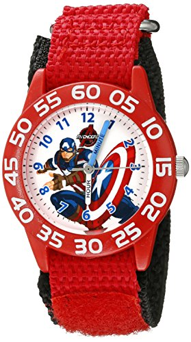 Marvel Kids' W002601 Captain America Time Teacher Analog Display Analog Quartz Red Watch ()
