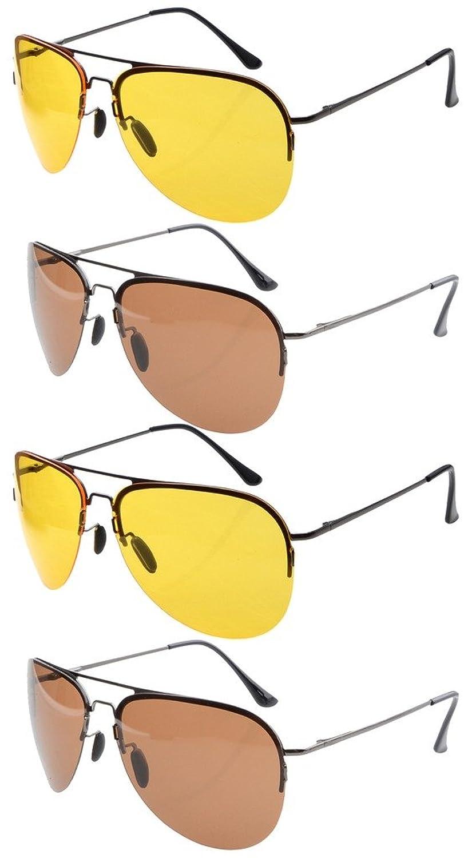 4-pack Thin Stamped Metal Frame Half-rim Pilot Style Spring Hinges Sunglasses