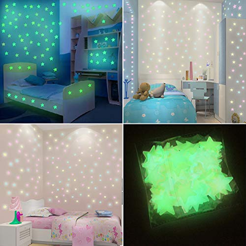 Glow in the Dark Stars Wall Stickers, Luminous Stars Wall Stickers with Colorful Adhensive Stars Ceiling Stickers for Starry Sky, Star Wall Decals for Kids, Living Room, Bedroom, Home Decor, 200 Pcs