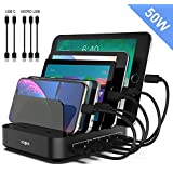 Charging Station, Vogek 5-Port 50W 10A Fast USB Charging Station Dock & Organizer with Smart Identification, 3 Pack Micro USB Cable, 2 Pack USB C Cable for Multiple Device-Black