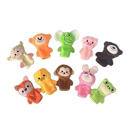 Beito 10pcs Dedo Títeres Suave Tela Animal Doll Juguetes de la Mano Juguetes de Peluche para