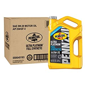 Pennzoil 550045193-3PK Ultra Platinum 5 quart 0W-20 Full Synthetic Motor Oil (SN/GF-5 Jug 3pk.)