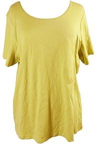 1dbf7518145225 Karen Scott Plus Size Cuffed T-Shirt in Intrepid Blue (1X) at Amazon ...