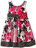 Youngland Girls 2-6X Sleeveless Floral Print Sundress, Pink/Black/White, 2T image