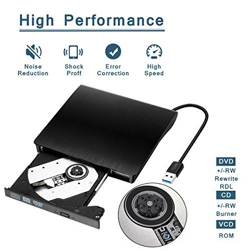 External DVD Drive, USB 3.0 External CD Drive, CD/DVD-RW Drive, CD-RW Re-Writer Burner Super-Drive High Speed Data Transfer Notebook PC Computer Support Windows 7, 8, 10, Mac OSX (Black) by Yododo (Image #1)