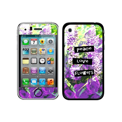 Iphone 3g 3 Gs Flower (Graphics and More Protective Skin Sticker Case for iPhone 3G 3GS - Non-Retail Packaging - Peace Love Flowers)