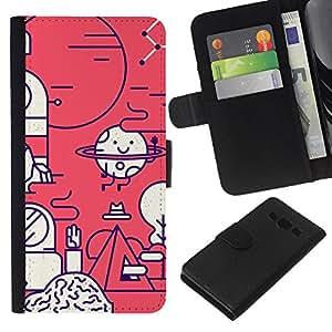 KLONGSHOP // Tirón de la caja Cartera de cuero con ranuras para tarjetas - Biología feliz Laboratorio Científico - Samsung Galaxy A3 //