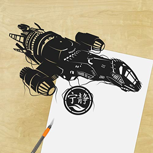 Serenity - Firefly, UNFRAMED, Mal, Wash, Western, brown coats, spaceship, scifi, thief, vehicle, silhouette, handcut, paper craft ()