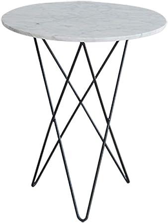 XIA Mesa de Centro Redonda con Estampado de mármol con Caja de Metal Negra, 2 tamaños (Tamaño : 47 * 55cm): Amazon.es: Hogar