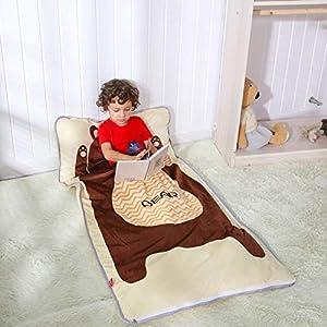 PomCo 4 Season Cartoon Sleeping Bags for Kids,Lightweight Daycare Toddler Nap Mat,Animal Plus Width-30 x61 Slumber Bag for Boys Girls Ages 2-7 Years (Brown Bear)