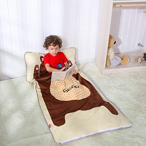PomCo 4 Season Cartoon Sleeping Bags for Kids,Lightweight Daycare Toddler Nap Mat,Animal Plus Width-30 x61 Slumber Bag for Boys Girls Ages 2-7 Years (Brown -