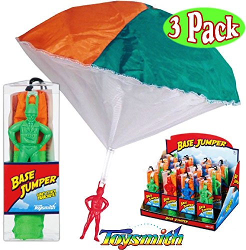 Toysmith Base Jumpers Parachute Men Red, Blue & Green Gift Set Bundle - 3 Pack by Toysmith