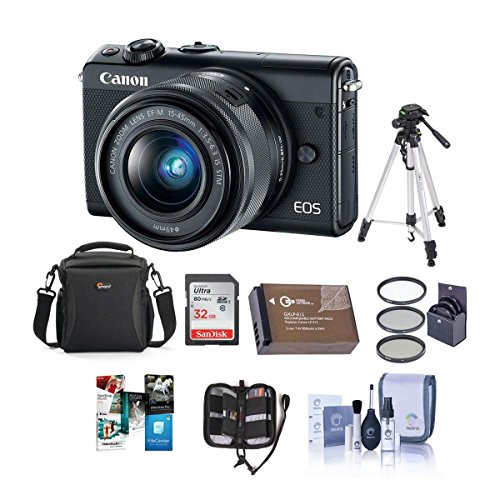 Canon EOS M100 Mirrorless Camera with EF-M 15-45mm f/3.5-6.3 is STM Lens, Black - Bundle with 32GB SDHC Card, Camera Case, 49mm Filter kit, Spare Battery. Tripod, Software Package, and More
