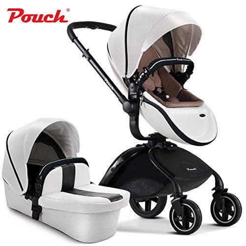 Pouch 2 in 1 fold Baby Stroller Set, aluminium alloy frame Baby Pushchair, rubber wheel Baby Pram (white)