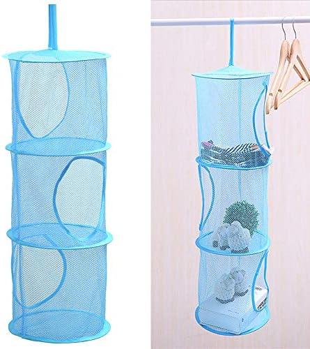 Walmeck 3 Schichten zusammenklappbar Angeln hängen Lagerung Trocknen Netz Tasche Mesh hängen Lagerung Korb Falten Spielzeug Unterwäsche Socken Lagerung Tasche Korb