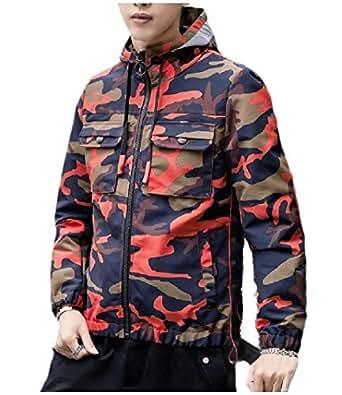 Howely Mens Trendly Hood Camouflage Zip-up Outwear Windbreaker Jackets Red 2XL