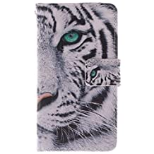 630 635 Case, Lumia 630 635 Case, SATURCASE PU Leather Flip Wallet Stand Card Slots Case Cover for Nokia Lumia 630 635 Cool Tiger