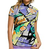 Jamie Sadock Women's Short Sleeve Multi-Color Verbage Golf Top - Purplexed, XL
