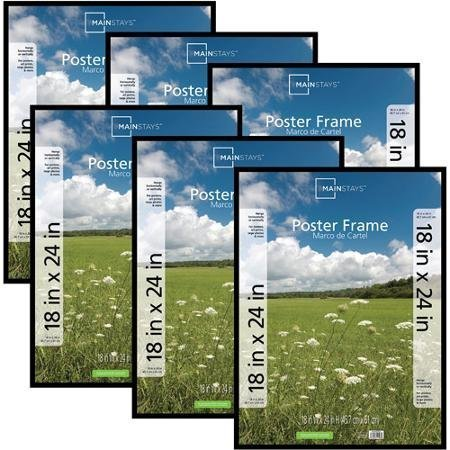 Classic Styles Mainstays Decor 18x24 Basic Poster & Picture Frame, Black, Set of 6