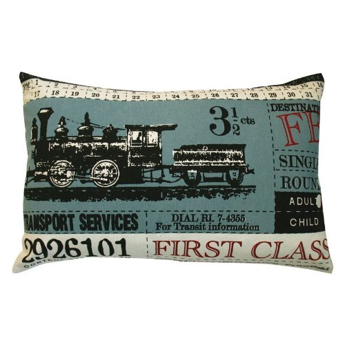Koko Ticket First Class Cotton Pillow, 13 by 20-Inch, Blue ()