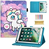 10 inch Universal iPad Case, Dteck PU Leather Magnetic Closure Case Cover [Cards/Money Slots] Flip Stand Wallet Protective Shell Case for Samsung Galaxy Tab A 9.7/ Tab E 9.6/ Tab 4 10.1/ Tab A 10.1, Nexus 9, iPad Pro 9.7, iPad 9.7 2017/2018, iPad Air 2, iPad Air,iPad 2/3/4, Amazon Fire HD 10 2015 & 2017, Huawei MediaPad T3 10, RCA Viking Pro / Viking II, Asus ZenPad 3S 10 Z500M 9.7 and All 9.5-10.5 inch Android Windows IOS Tablet PC, Cute Unicorn