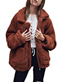 Famulily Womens Fuzzy Fleece Jackets Loose Zip up Pockets Cardigan Coats Outwear Coffee Large