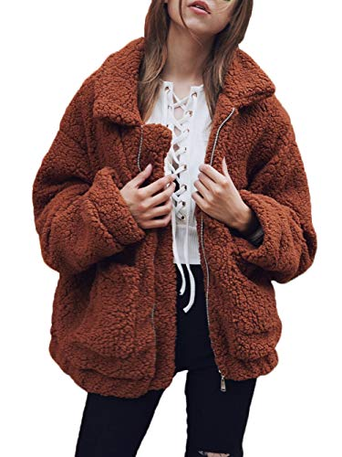 Famulily Womens Fuzzy Fleece Jackets Loose Zip up Pockets Cardigan Coats Outwear Coffee X-Large