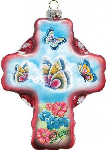 Debrekht Butterflies Cross Glass Ornament G