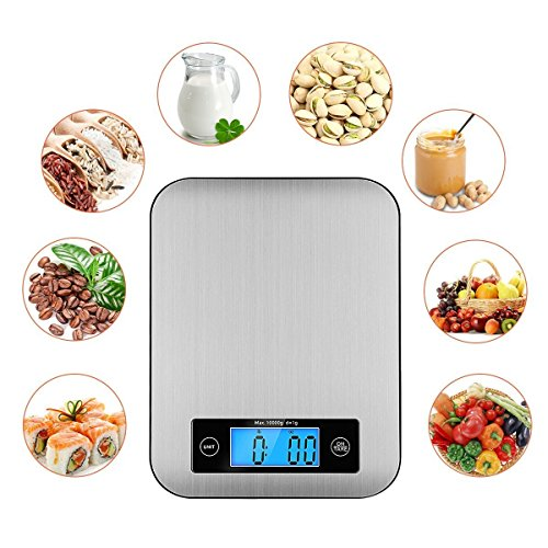 Digital Kitchen Multifunction Food Scale - Upgraded High Precision Food Scale,Tare & Touch ON& Auto Off, Rustproof Premium Stainless Steel Platform, 22lb 10kg, Storage Bag & 2xAAABatteries (Included) ()