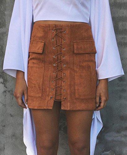 Minetom Mujeres Moda Vintage Primavera Verano Faux Suede Lace-Up Mini Falda Con Dos Bolsillos Casual Cintura Alta Bodycon Skirt Marrón