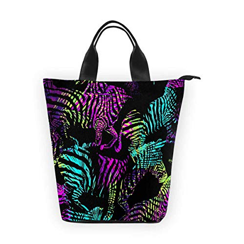- InterestPrint Nylon Cylinder Lunch Bag Colorful Animal Zebra Tote Lunchbox Handbag