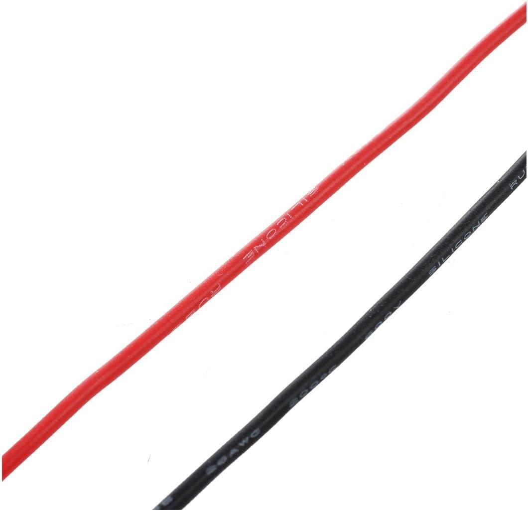 TOOGOO R 2 Cables electriques 3m 1.4mm No.26 en Silicone flexible noir rouge
