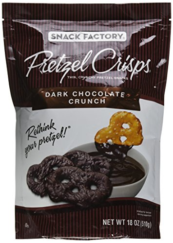 - Snack Factory Pretzel Crisps, Dark Chocolate Crunch, 18 oz