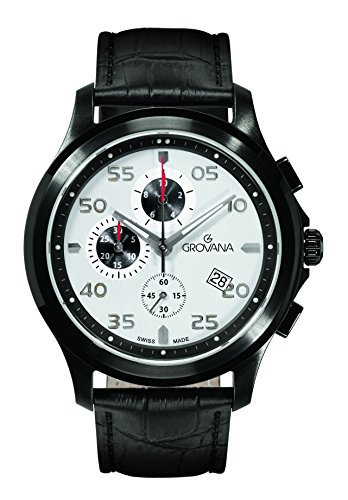 Grovana Men's 'Sport' Swiss Quartz Stainless Steel and Leather Casual Watch, Color:Black (Model: 1633-9572)