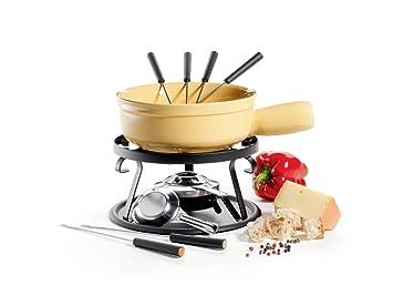 Domestic 924397 - Fondue (11 piezas: 1 hornillo, base de hornillo, difusor de aluminio, quemador, cazo de fondue y 6 tenedores de fondue): Amazon.es: Hogar