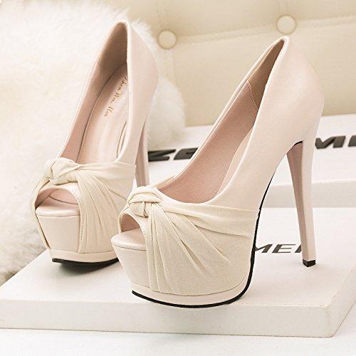 end scarpe con high coreana apricot Versione temperamento prua singolo di con di un prua di singola grande prua impermeabile un alti scarpe tacchi 0wqCv