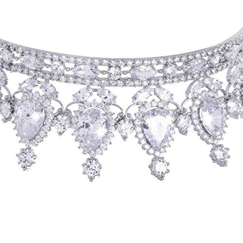 FUMUD Designs Vintage Peacock Full Cubic Zirconia Tiara Bridal Wedding Hair Accessories Birthday Party Crown Jewelry (Plating Platinum) by FUMUD (Image #5)