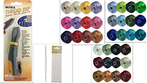 36 Colors of S-lon BEAD THREAD Size D & Ultra Thread Zap Tool & Four 5