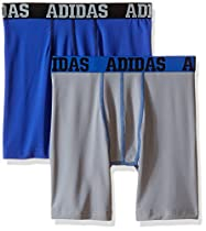 adidas Boy's Sport Performance Climalite Midway Underwear (2 Pack), Grey/Bold Blue/Bold Blue/Black, Large/14-16