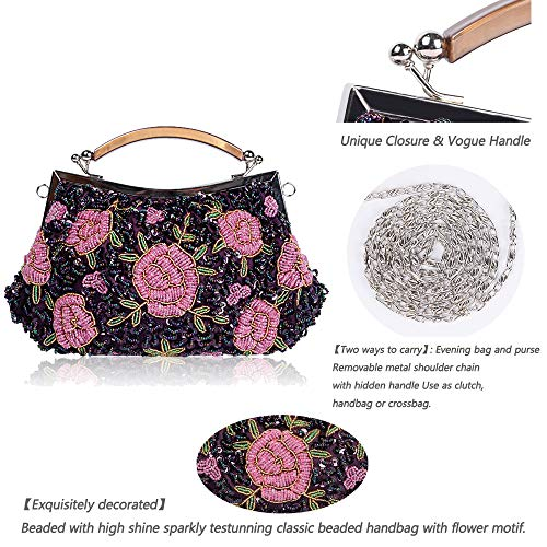 amp; Exquisite Wedding Glitter Bag Bags Flora Handbag Handmade Enjoysports Evening for Ball Beaded Cluth Bag Sequin Vintage Beads Bridal Party Gray Women gpnPxwBH