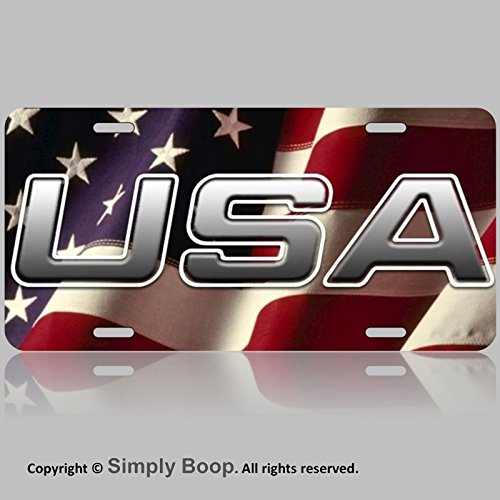 USA American Flag Front Vanity License (China Flag License Plate)
