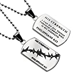 I Can Do All Things Phil 4:13 His Strength Silver Dog Tag Necklace in Gift Bag Choose From 3 Chains (24)
