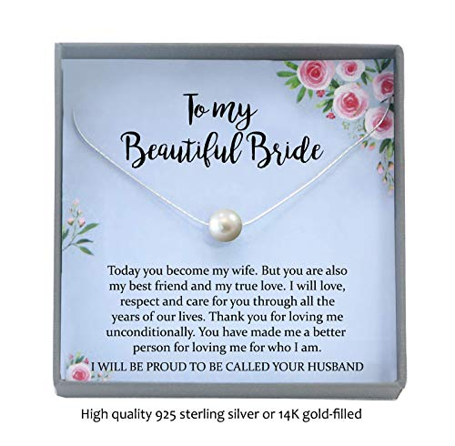 Wedding Day Gifts for Bride from Groom, Necklace with Meaningful Message, Floating Pearl