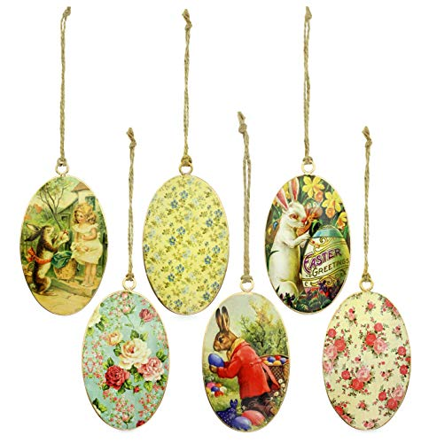 AuldHome Vintage Style Egg-Shaped Easter Decorations (Set of 6); Bunny and Egg Ornaments -