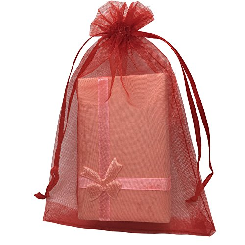 - MELUOGE 100pcs 5X7 Inches Organza Drawstring Jewelry Pouches Bags Party Wedding Favor Gift Bags Candy Bags (Red)