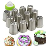 Russian Piping Tips Set,Feleph Cake Decorating Supplies Kit for C 9 MATERIAL: These Professional icing nozzle tips are made of 100% food grade FDA approved 304 stainless steel. These Tips are Eco-friendly, easy to wash and handle, long lasting and reusable,smooth chrome finish. CREATE IMPRESSIVE CAKES:Let your imagination run wild with this icing nozzles to decorate wedding cakes, cupcakes, cookies and so on. Look at photos or videos that inspire you to action, just follow it to have some fun on your dessert with this set. EASY TO USE AND CLEAN: Just a little pressure on the pastry bag, you can create beautiful flowers. Coming with a little clean brush, to make you clean the tips more easier.