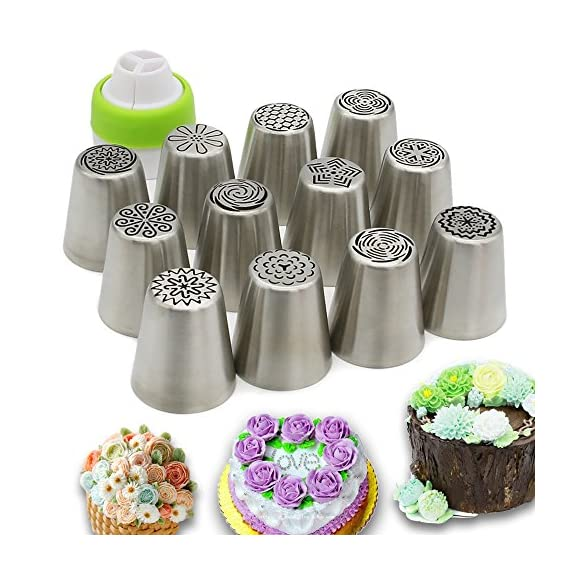 Russian Piping Tips Set,Feleph Cake Decorating Supplies Kit for C 2 MATERIAL: These Professional icing nozzle tips are made of 100% food grade FDA approved 304 stainless steel. These Tips are Eco-friendly, easy to wash and handle, long lasting and reusable,smooth chrome finish. CREATE IMPRESSIVE CAKES:Let your imagination run wild with this icing nozzles to decorate wedding cakes, cupcakes, cookies and so on. Look at photos or videos that inspire you to action, just follow it to have some fun on your dessert with this set. EASY TO USE AND CLEAN: Just a little pressure on the pastry bag, you can create beautiful flowers. Coming with a little clean brush, to make you clean the tips more easier.