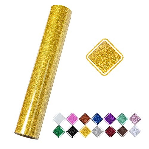 VINYL FROG 9.8inch by 60inch Gold Glitter Iron on Heat Transfer Vinyl Roll for T-Shirt, Garments Bags and Other Fabrics(1.55mx25cm)